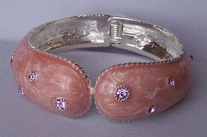 Pink Clear Crystal Silver Tone Bangle Bracelet