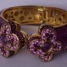 Purple Lavender Amethyst Swarovski Crystal Flower Bangle Bracelet