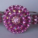 Hot Pink Magenta Fuchsia Crystal Bangle Bracelet