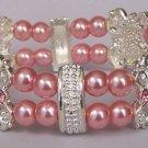 Pink Pearl AB Aurora Borealis Crystal Bracelet