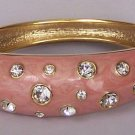 Pink Gold Tone Clear Crystal Bangle Bracelet