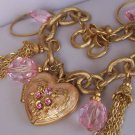 Pink Heart Love Austrian Crystal Tassel Valentines Day Locket Charm Bracelet