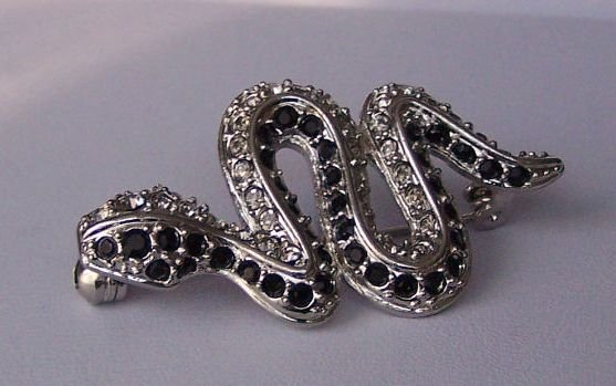 Black Clear Austrian Crystal Snake Reptile Animal Print Brooch Pin