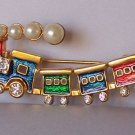 Clear Austrian Crystal Choo Choo Train Red Blue Green Pearl Brooch Pin