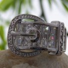 CLEAR WESTERN COWGIRL RODEO BELT BUCKLE CZ CUBIC ZIRCONIA RING SIZE 7