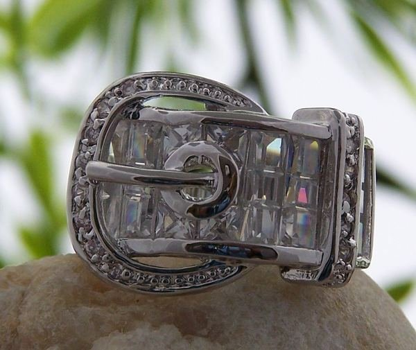 CLEAR WESTERN COWGIRL RODEO BELT BUCKLE CZ CUBIC ZIRCONIA RING SIZE 9
