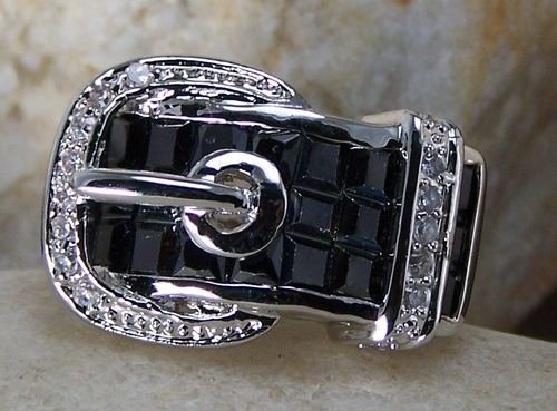 BLACK WESTERN COWGIRL BELT BUCKLE CZ CUBIC ZIRCONIA RING SIZE 7