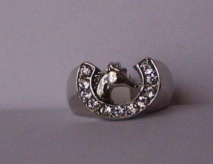 Clear Crystal Horseshoe Horse Shoe Western Head Ring Size 6