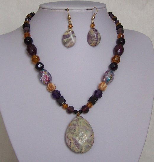 Purple Black Green Brown Beige Off White Glass Semi Precious Semiprecious Necklace Set