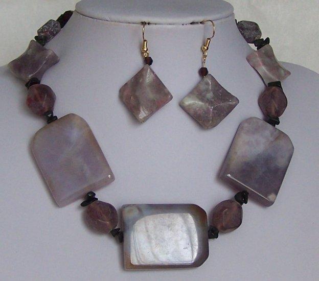 Purple Black Semi Precious Semiprecious Necklace Set