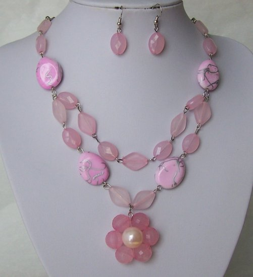 Pink Flower Off White Beige Pearl Silver Patina Necklace Set