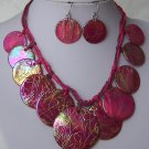 Hot Pink Fuchsia Magenta Aurora Borealis AB Natural Shell Necklace Set