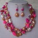 Hot Pink White Peach Pearl Turquoise Semiprecious Semi Precious Western Necklace Set