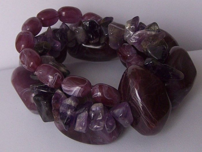 Chunky Purple Lavender Amethyst Western Semiprecious Natural Stone Mix Bead Bracelet