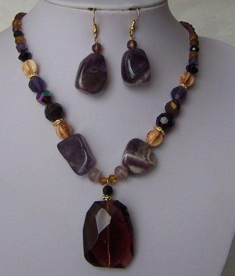 Purple Black Glass AB Brown Beige Off White Semi Precious Semiprecious Necklace Set