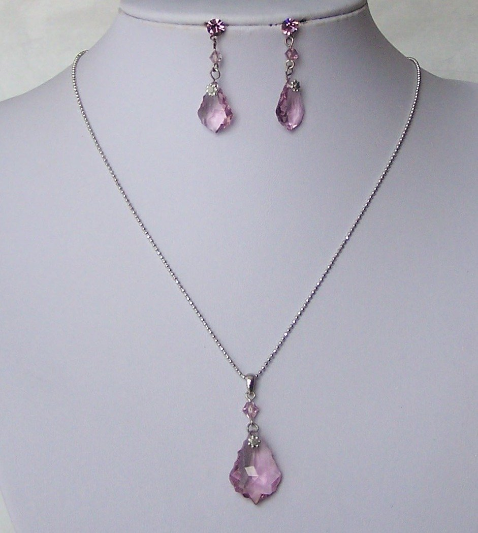 Purple Lavender Swarovski Crystal Necklace Set