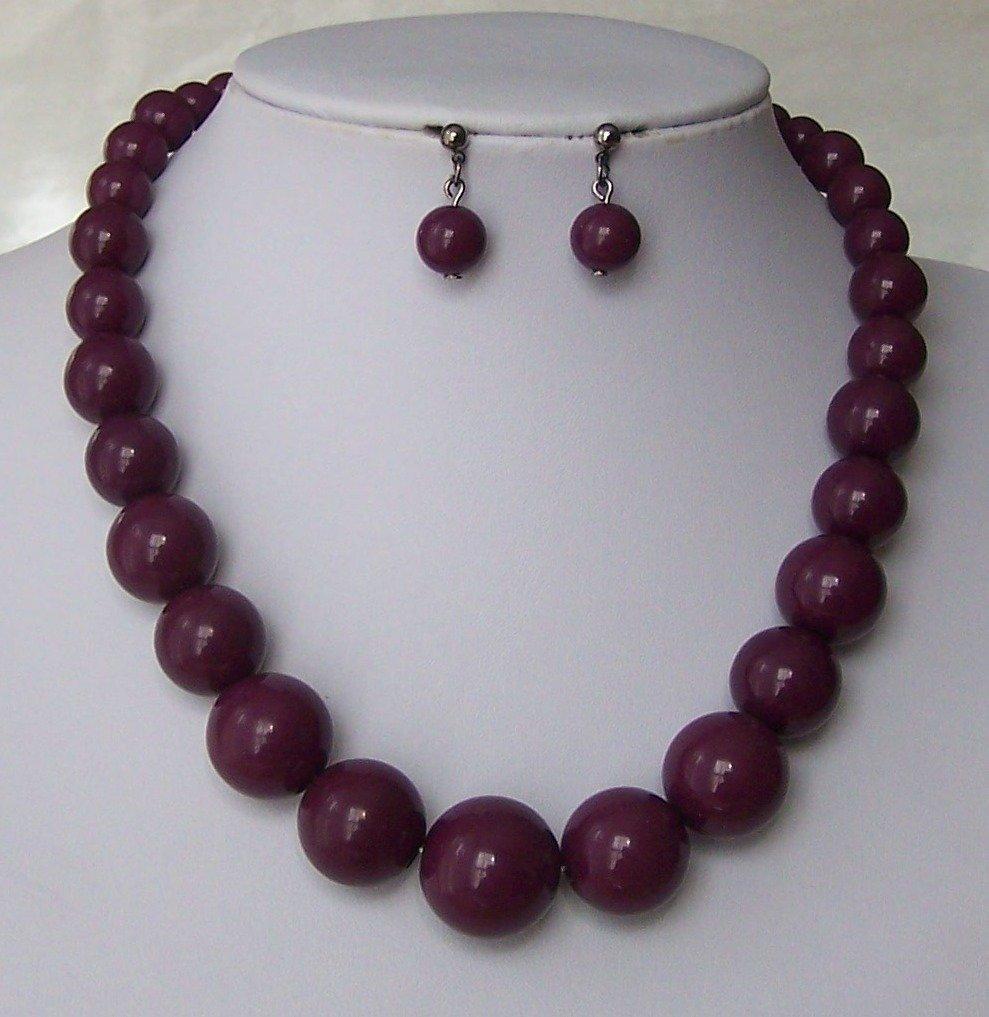 Purple Graduated Bead Necklace Set