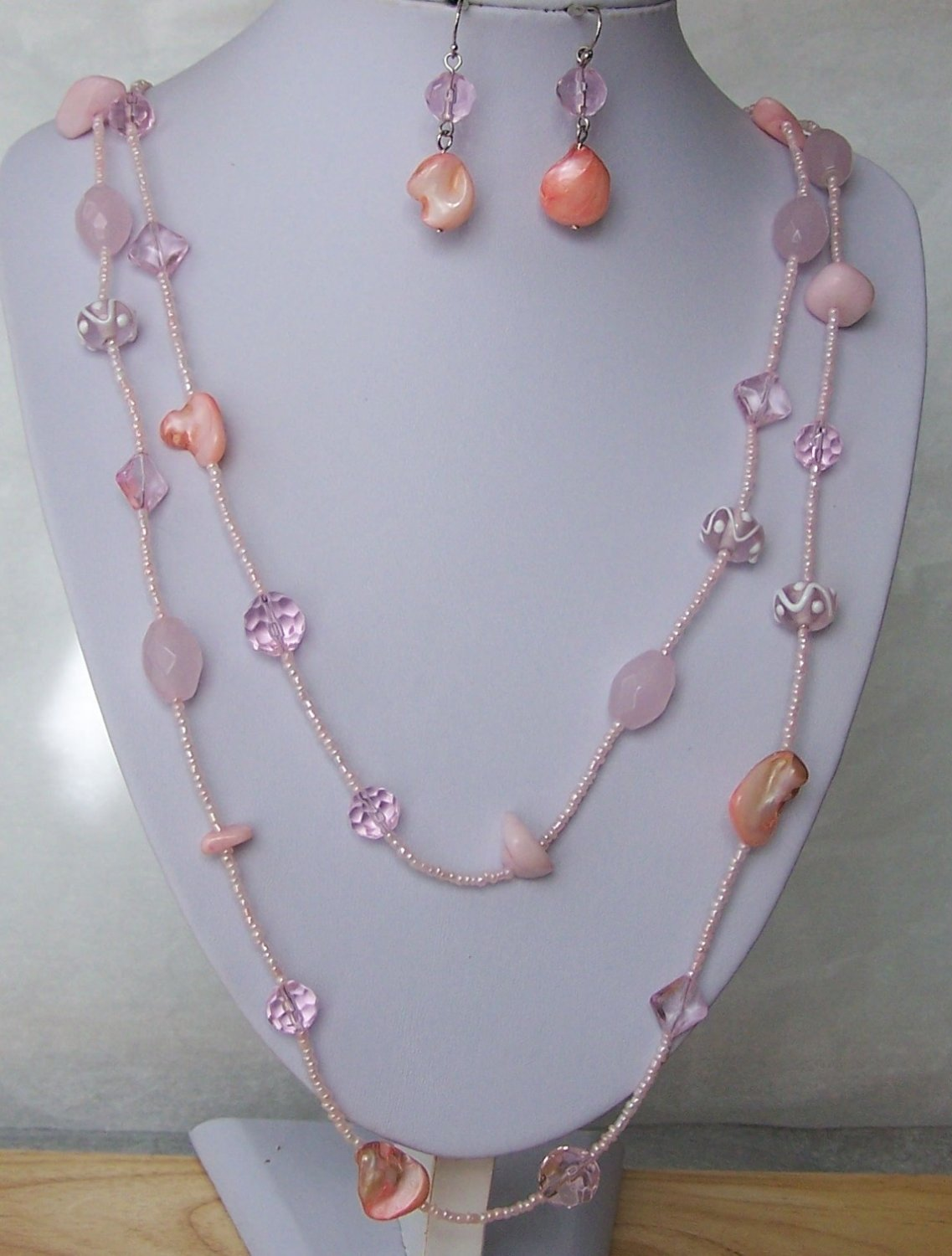 Pink Natural Stone Glass Seed Bead Multistrand Necklace Set