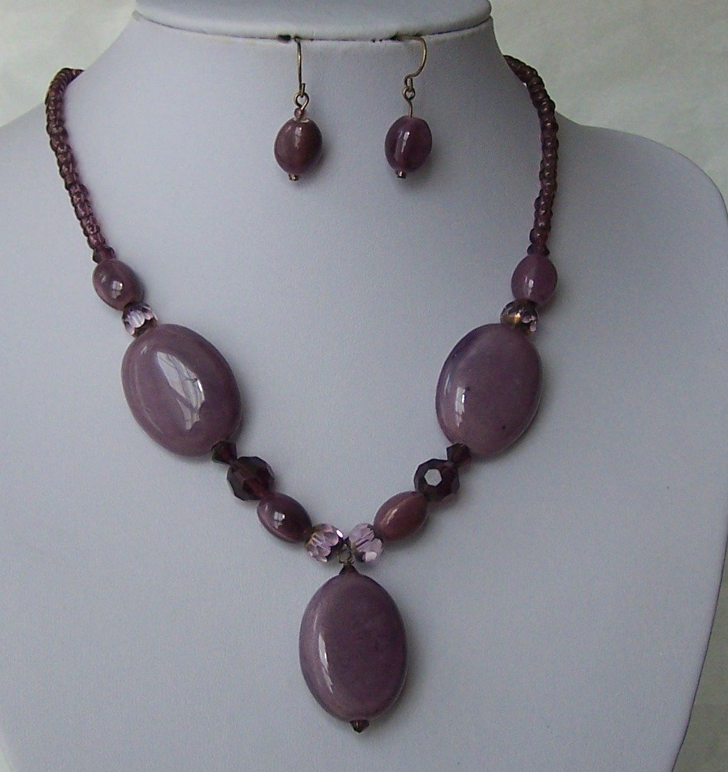 Purple Lavender Glass Seed Bead Ceramic Stone Mixed Necklace Set