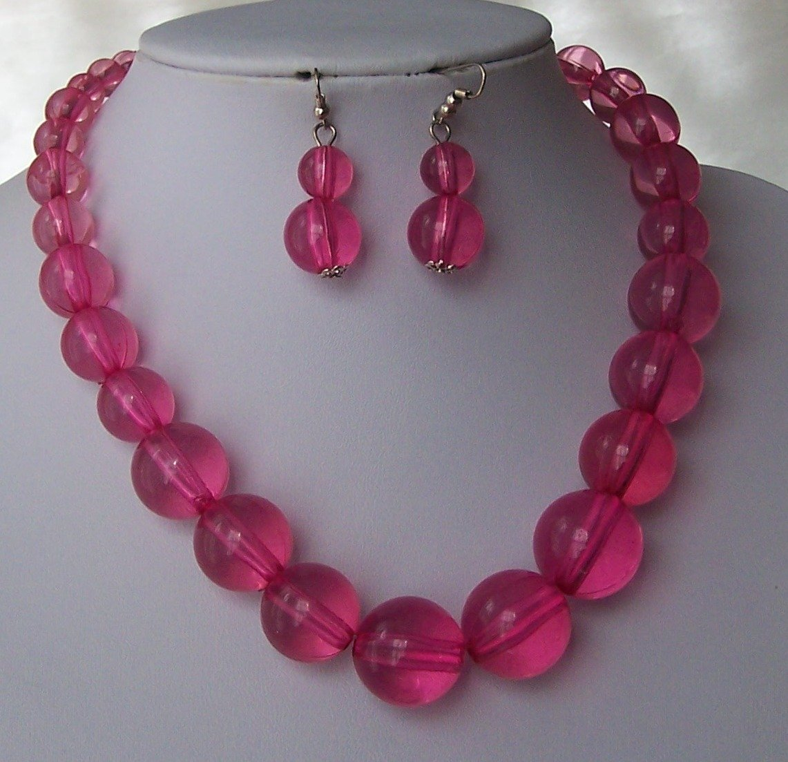 Hot Pink Fuschia Magenta Glass Necklace Set