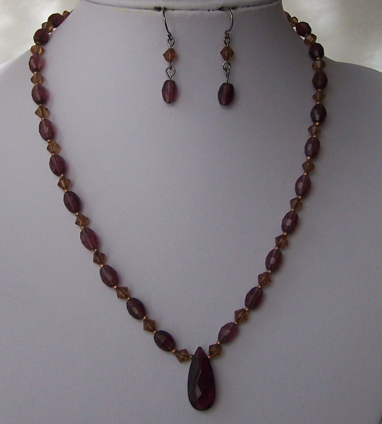 Purple Brown Glass Necklace Set