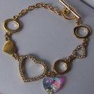 Cubic Zirconia CZ Gold Tone  Heart Love Valentines Day Charm Bracelet