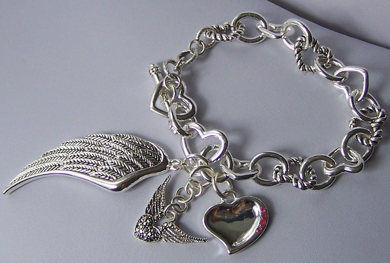 Angel Wing Wings Pink Crystal Heart Love Valentines Day Charm Bracelet