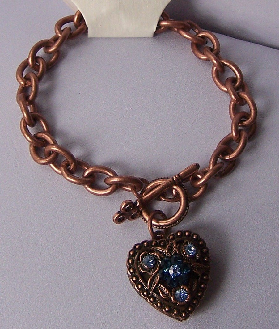 Blue Crystal Copper Tone Heart Love Valentines Day Charm Locket Bracelet