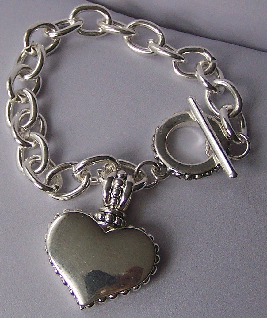 Silver Tone Heart Love Valentines Day Charm Bracelet