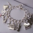 Wedding Bride Bridal Money Key Travel Good Luck Baby Sands of Time Heart Love Charm Bracelet
