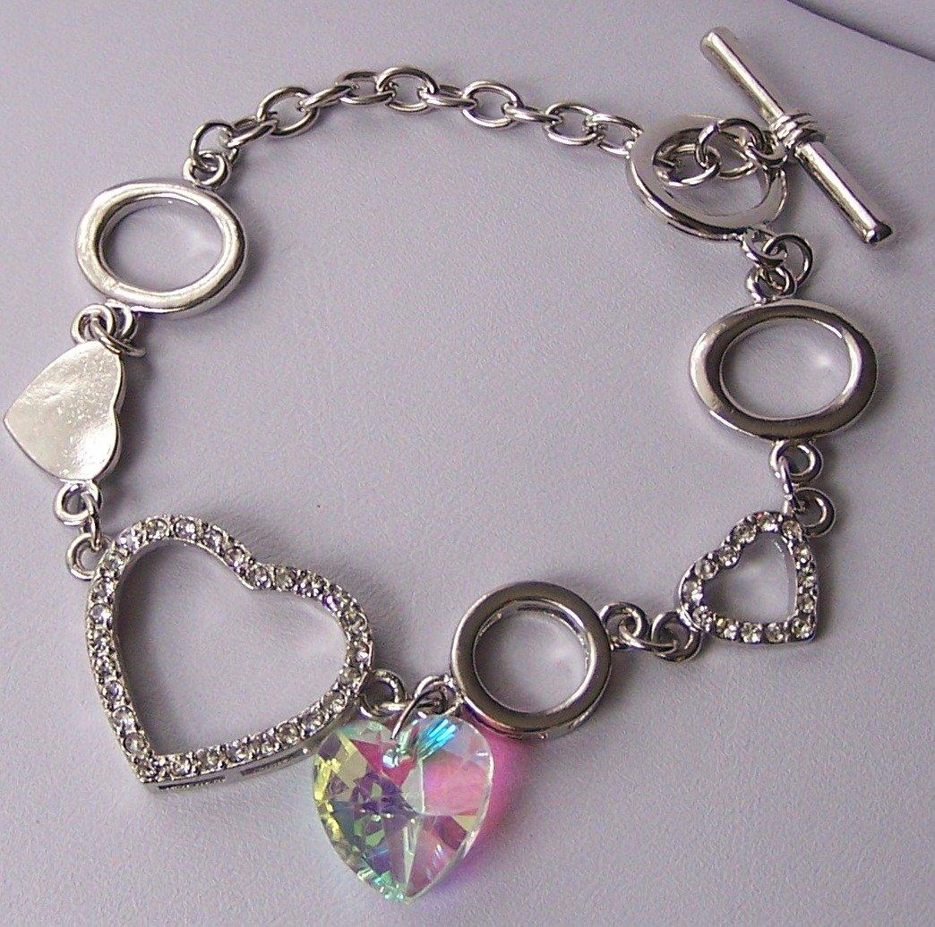 Cubic Zirconia CZ Silver Tone  Heart Love Valentines Day Charm Bracelet