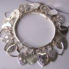 Open Bangle Filigree Silver Tone Heart Love Valentines Day Charm Bracelet