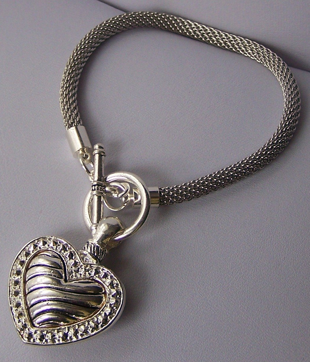 3D Puffy Mesh Silver Tone Heart Love Valentines Day Charm Bracelet