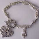 Clear Crystal Flower Heart Love Valentines Day Charm Bracelet