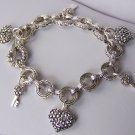 3D Puffy Silver Tone Key Heart Love Valentines Day Charm Bracelet