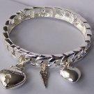 Silver Tone 3D Bangle Key To My Heart Love Valentines Day Charm Bracelet