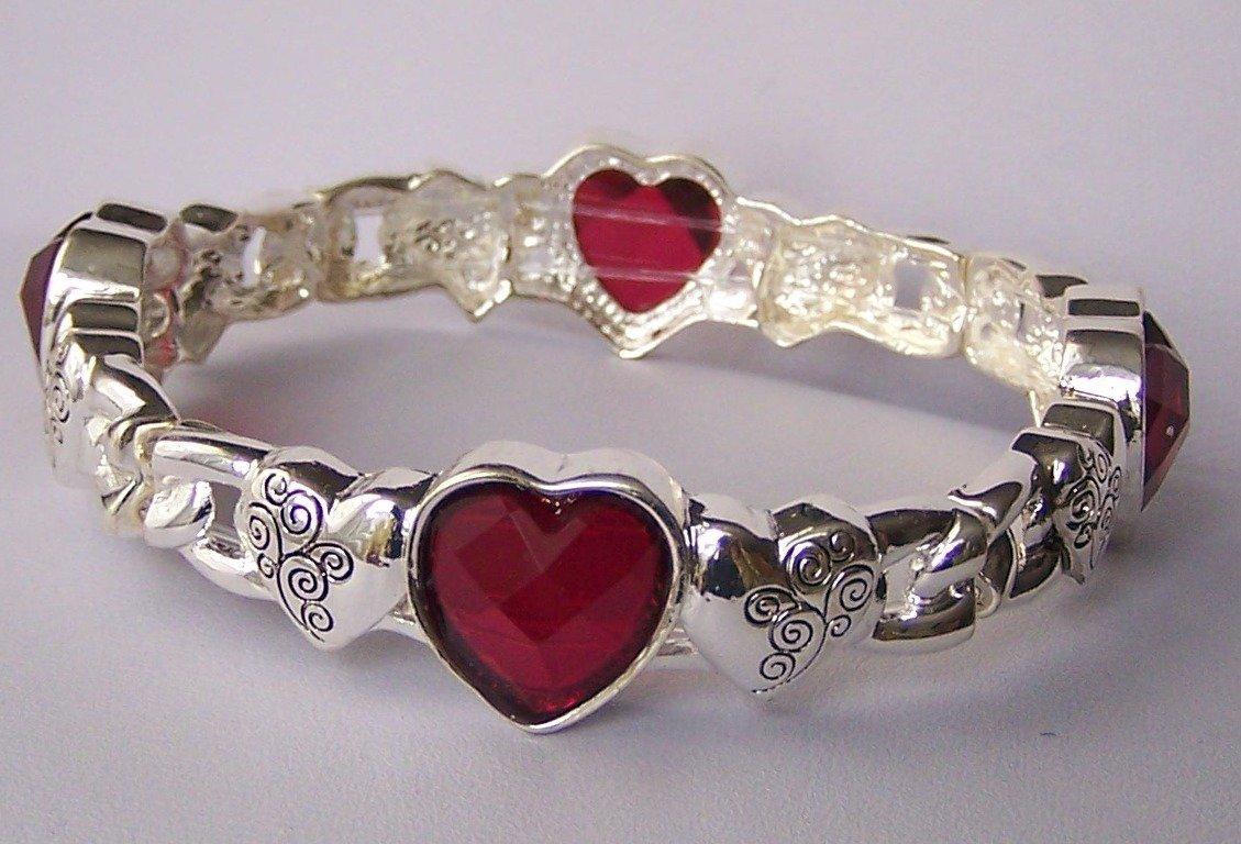 Red Heart Love Valentines Day Bangle Bracelet
