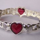 Red Heart Love Valentines Day Bangle Bracelet