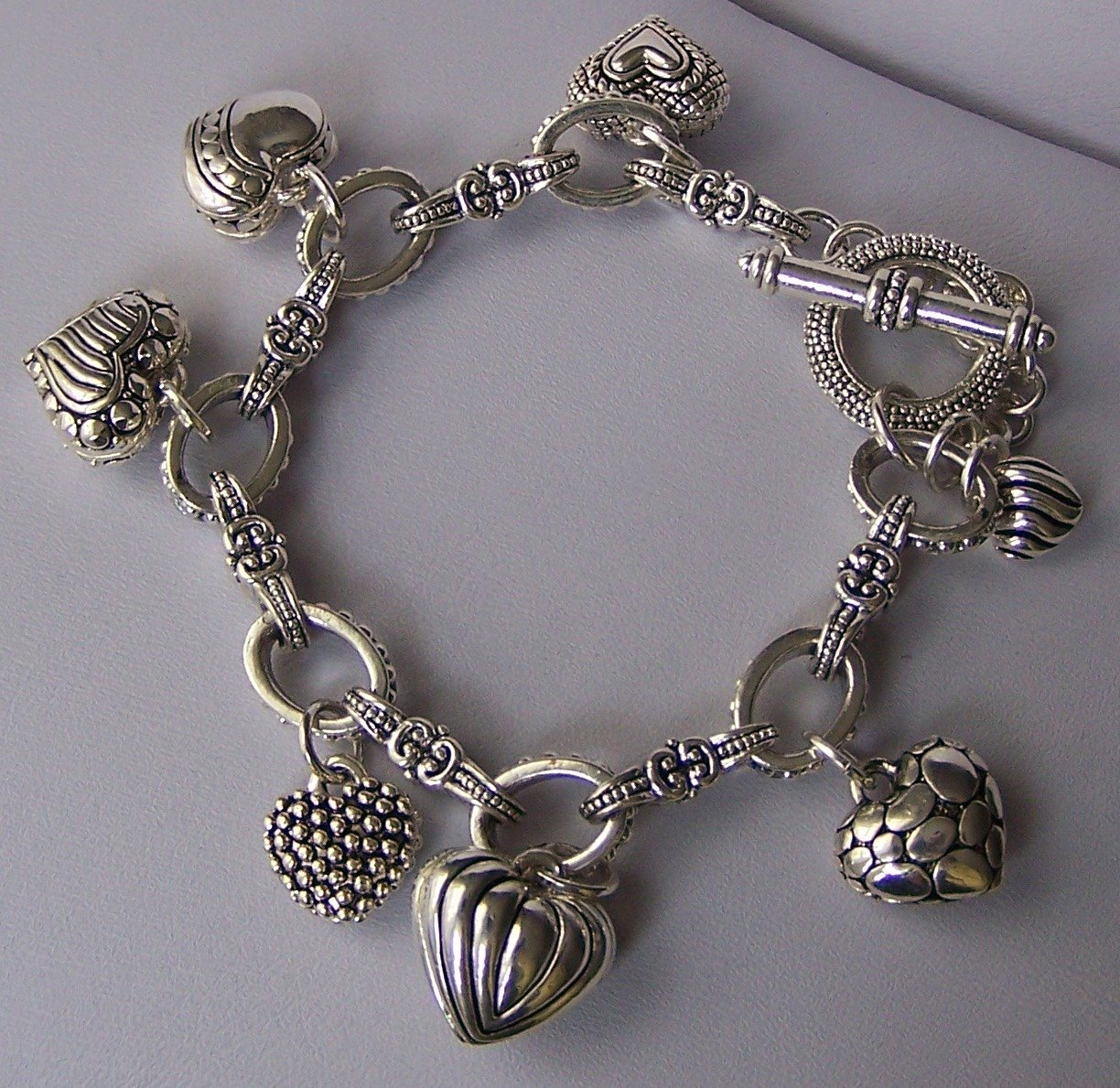 Puffy Silver Tone Key 3D Heart Love Valentines Day Charm Bracelet
