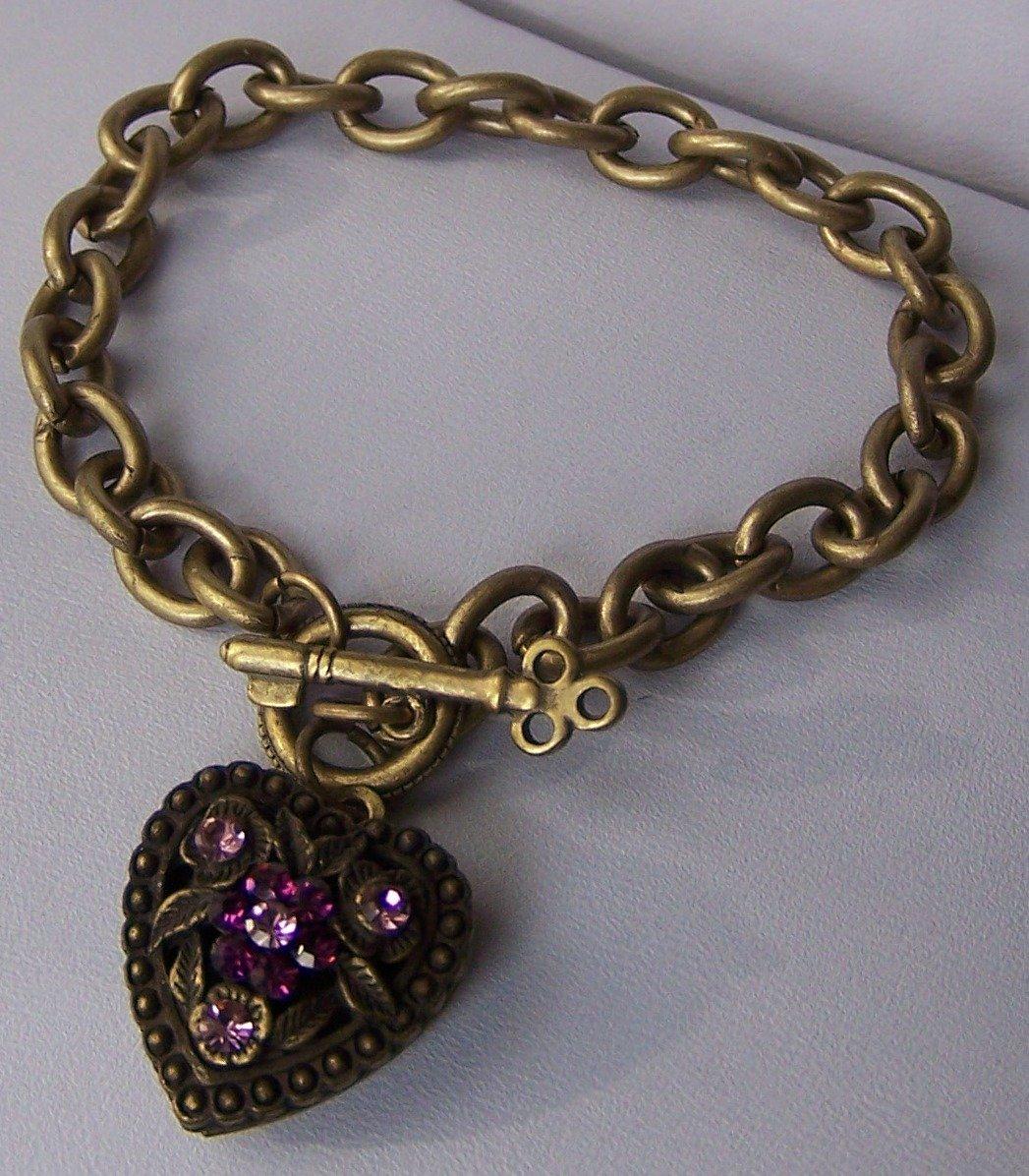 Purple Crystal Gold Tone Heart Love Valentines Day Charm Locket Bracelet