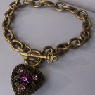Purple Crystal Gold Tone Heart Love Valentines Day Charm Locket Bracelet