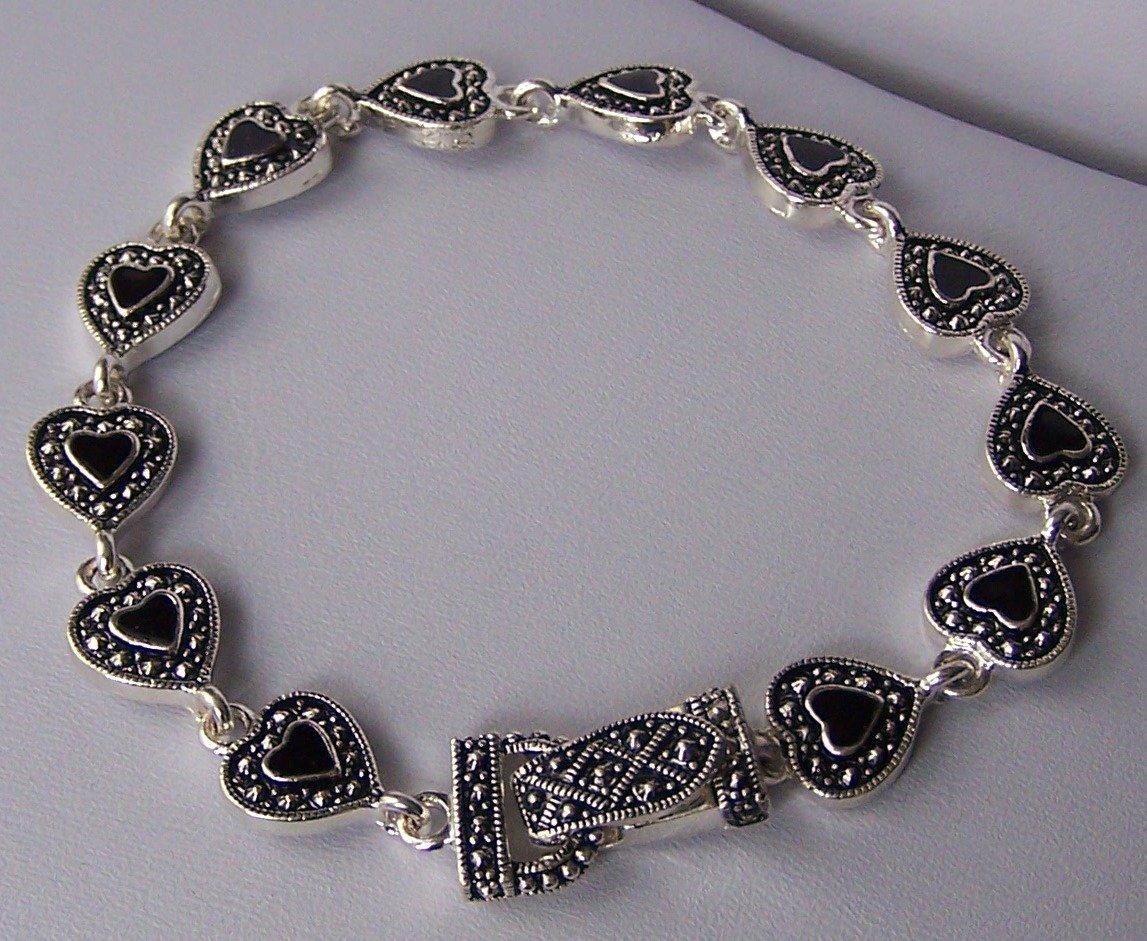 Black Textured Heart Love Valentines Day Bracelet