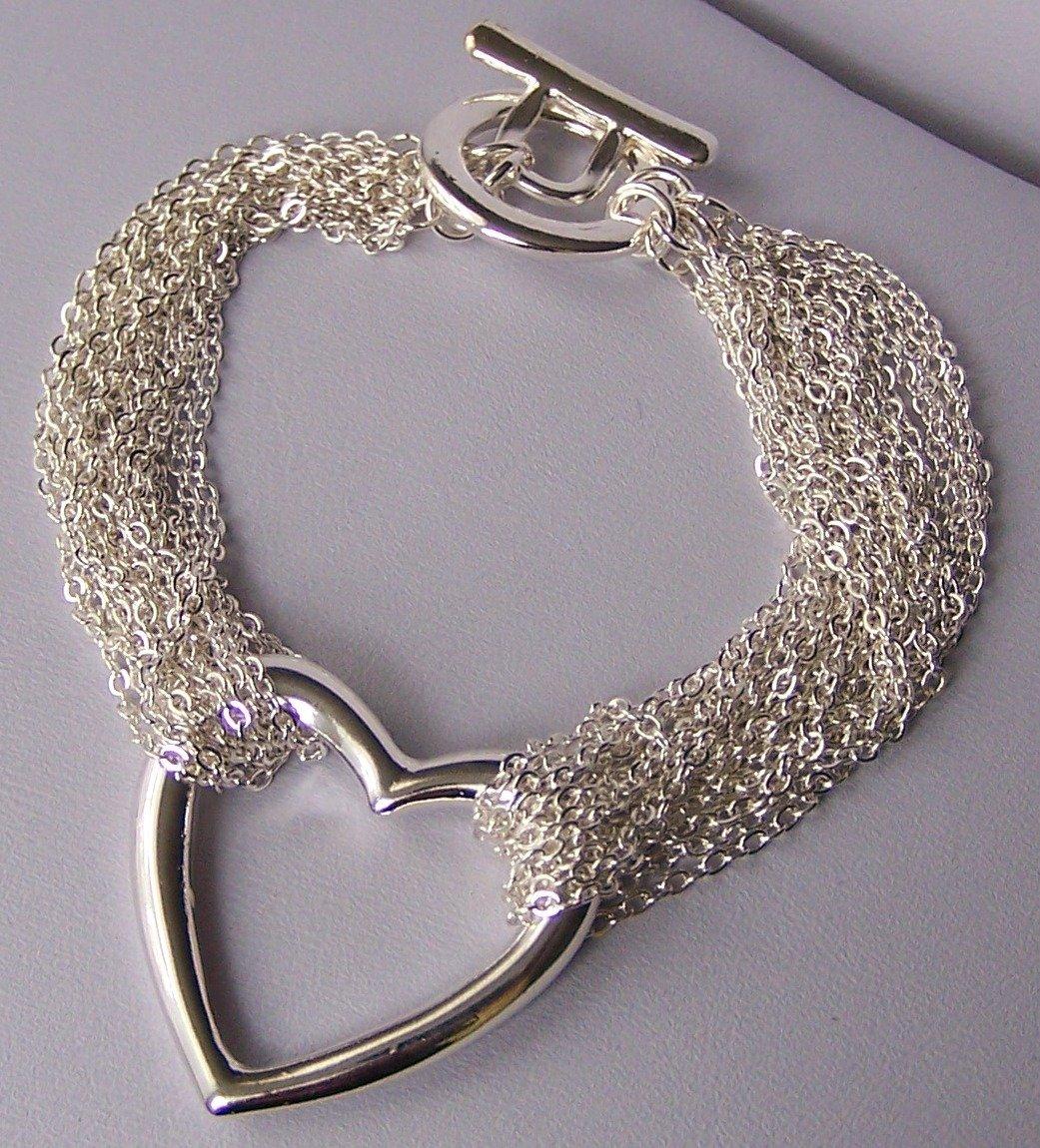 Open Multistrand Heart Love Valentines Day Charm Bracelet