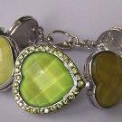 Green Crystal Cabochon Heart Love Valentines Day Bracelet