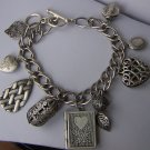 Book Locket Filigree Leaf Leaves Silver Tone Heart Love Valentines Day Charm Bracelet