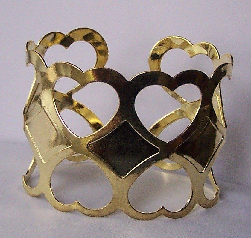 Gold Tone Cuff Heart Love Valentines Day Bracelet