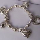 Puffy Silver Tone Key 3D Open Heart Love Valentines Day Charm Bracelet