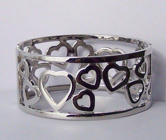 Silver Tone Heart Love Valentines Day Bangle Bracelet