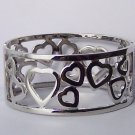 Silver Tone Heart Love Valentines Day Bangle Bracelet