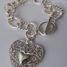 Filigree Silver Tone Heart Love Valentines Day Charm Bracelet